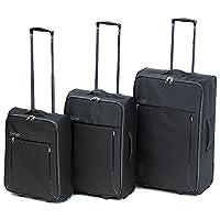 Constellation LG003432WBLKASMIL Superlite 3 Piece Suitcase Set, Black/Grey