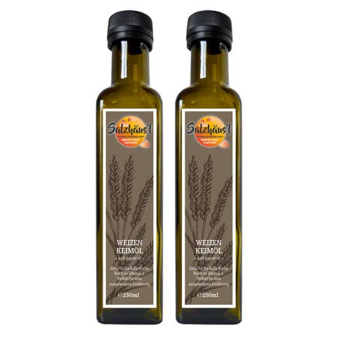 Weizenkeimöl Salzhäusl (vormals Biomond) / 2 x 250 ml Vorteilspack / Testsieger / hochwertiges Gourmetöl / kalt gepresst