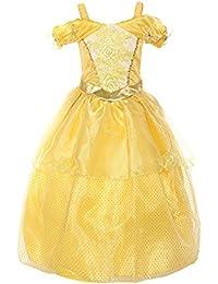 ReliBeauty – Fille – Robe de princesse Belle manches basses magnifique Tenue bracelet papillon Déguisement pour conte de fée broderie de rose