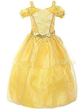 ReliBeauty Mädchen Kleider Schmetterling Trägerkleid Drop Shoulder Armlos Belle Prinzessin Kleid Rose Blumen Kostüme