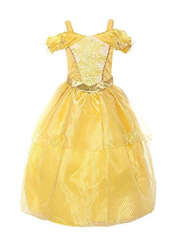 ReliBeauty – Fille – Robe de princesse Belle manches basses magnifique Tenue bracelet papillon Déguisement pour conte de fée broderie de rose (Jaune, 8 ans)