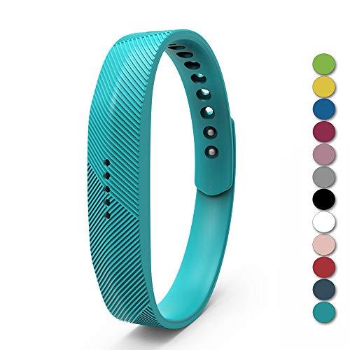 "Zeehar Ersatz-Armband aus Weichem Silikon für Fitbit Flex 2 Fitness-Armband, Kein Tracker, blaugrün, S(for 5.5""- 6.7"" Wrist)"