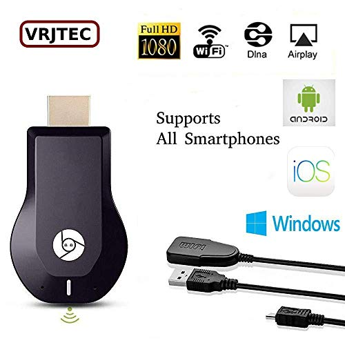 VRJTEC WiFi Wireless Display Dongle 1080P Wireless HDMI Screen Mirror WiFi Dongle Display TV Dongle Receiver 1080P Easy Sharing Wireless Streaming [Upgraded Version] (Dongle-1)