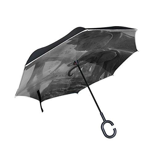 Mnsruu Paraguas invertido de Doble Capa con diseño de Elefantes Grises Plegables,...