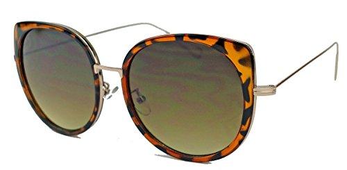 Filigrane Damen Sonnenbrille im Cat Eye Stil flache Gläser Metallbügel GS36 (Horn)