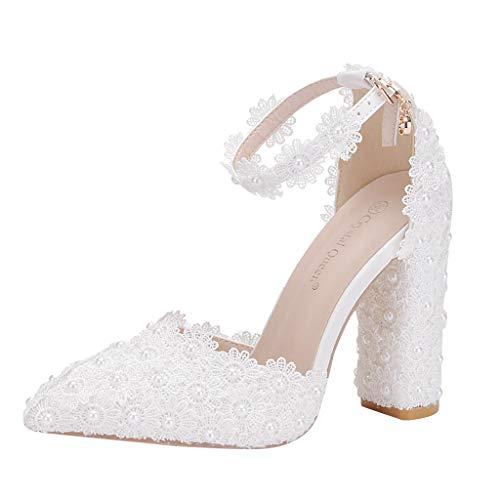 Wawer Damen Mode Brautschuhe Geschlossene Zehen Chunky Heel Spitze Satin Pumps (Weiße Satin Derby Hat)