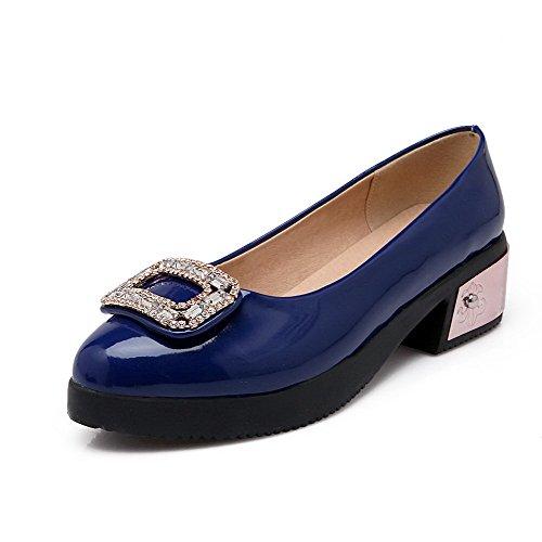 Baixo Pu Puro Rodada Toe Salto Bombas Tração Agoolar Azuis No Senhoras Couro Sapatos f1wTqS