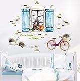 Scenario Romantico Dipinto A Mano Finestra Bicicletta Bicicletta Gatto Wall Sticker Tv/Divano Camera Da Letto Sfondo Decorativo Adesivo Murale Adesivo 83Cmx105Cm