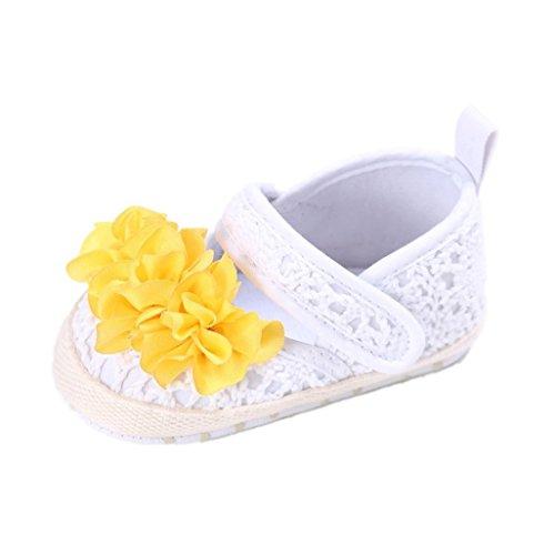 Auxma Baby Prewalker Schuhe,Baby Sommer Prinzessin erste Wanderer Schuhe Blumen Schuhe Sandalen für 3-6 6-12 12-18 Monat (3-6 M, Beige) Weiß