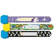 Sigel SY404 Kinder-Sicherheits-Armband Set zum Beschriften, Motive: Einhorn Fußball Totenköpfe, 3 Stück, 19,7 cm