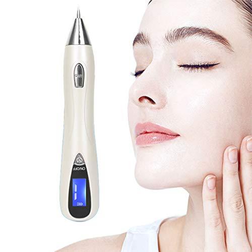 AMINSHAP Laser Beauty Point Pen, Keine Spur von Home Skin Tag-Entferner-Kit mit 9 einstellbaren Modi & LED-Licht LCD USB-Lade-Beauty-Instrument,Silver
