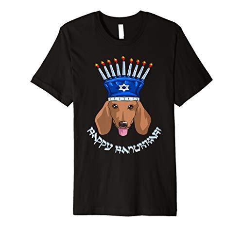 Dackel Menora Hut T-Shirt Chanukka Chanukah Shirt