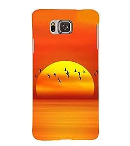 FUSON Sunset And Gaggle Background 3D Hard Polycarbonate Designer Back Case Cover for Samsung Galaxy Alpha :: Samsung Galaxy Alpha S801 :: Samsung Galaxy Alpha G850F G850T G850M G850Fq G850Y G850A G850W G8508S :: Samsung Galaxy Alfa