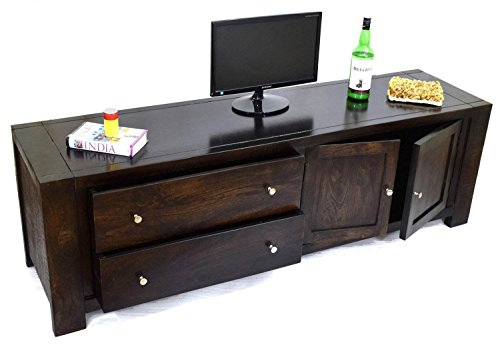TimberTaste CUBA Solid Wood TV Entertainment Unit (Dark Walnut Finish)  available at amazon for Rs.16700