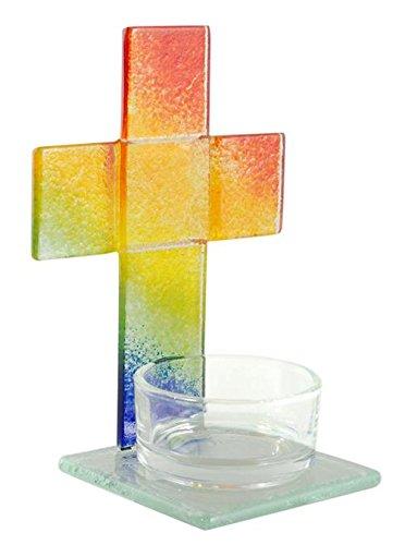 Glas Teelicht-Kreuz Regenbogen, rot,gelb,grün,blau