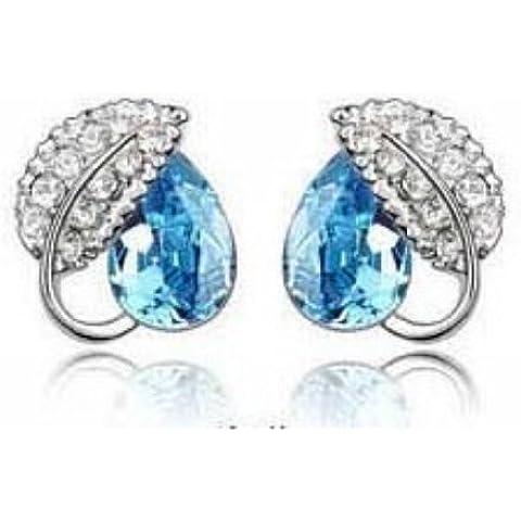 Lily Jewelry ® donna, alla moda, a forma di angelo, in argento sterling, con cristalli blu, orecchini a perno da donna