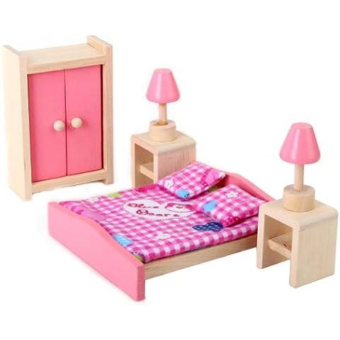 1/12 Dollhouse Mínimos Muebles De Dormitorio De Madera Cama mesilla Armario
