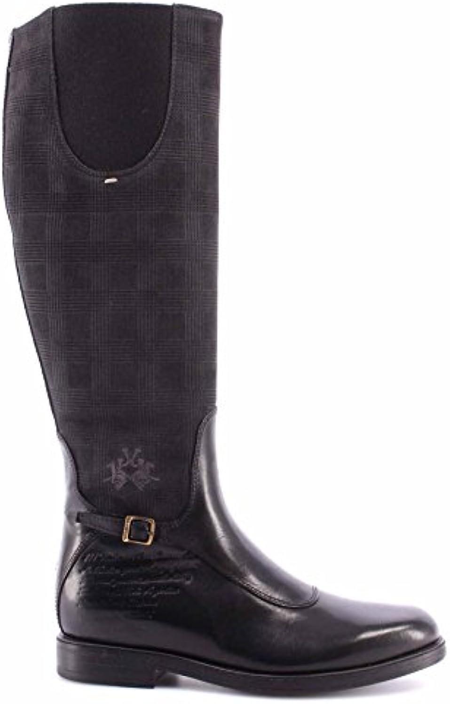 La Martina Zapatos Botas de Mujer L2181284 Cuero Nero Camo Antracite Galle Negro