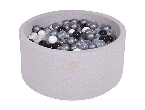 MEOWBABY 90x40cm/300 Balles ∅ 7Cm Piscine À Balles pour Bébé Enfant Rond fabriqué en UE Gris Clair: Blanc/Noir/Transparent/Argent
