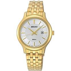 Seiko Neo Classic Montre Femme Analogique Quartz avec Bracelet Acier Inoxydable plaqué Or SUR646P1