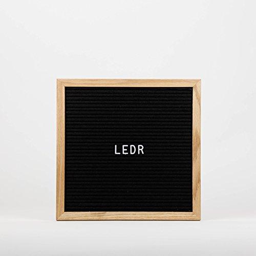 LEDR - Letter Board aus Holz und Filz - Schwarz / Natur | Buchstaben Tafel Buchstabenbrett Rillentafel Stecktafel mit 290 weißen Buchstaben und Zahlen - 30 x 30 x 2 cm - Retro Design (Retro-design)