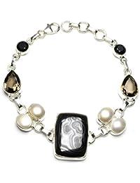 """stargems (TM) Natural Apache oro piedra, Río Perla, Negro Onyx y Río perla diseño único 925pulsera de plata de ley 7–73/4"""""""