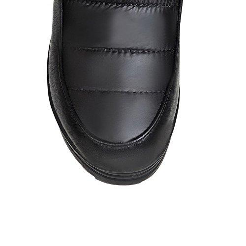 VogueZone009 Damen Blend-Materialien Rund Zehe Hoher Absatz Mitte-Spitze Stiefel Schwarz