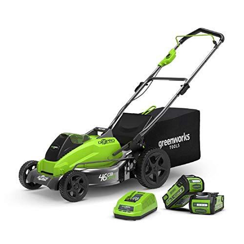 Greenworks Tondeuse à gazon Brushless sans fil sur batterie 45cm 40V Lithium-ion avec 2 batteries 2Ah et chargeur - 2500407UC