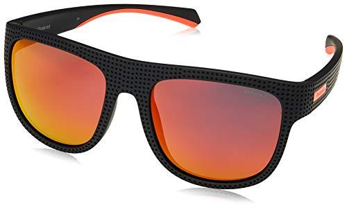 Polaroid PLD7023/S OIT Black / Red PLD7023/S Square Sunglasses Polarised Lens Category 3 Lens Mirrored Size 56mm Polaroid Square