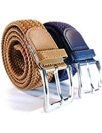 Cinturón trenzado elástico y extensible 2 piezas cinturones con hebilla  para hombre y mujer. Pack fbf2d918a3c5