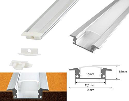 Preisvergleich Produktbild LED Schiene Aluminium Boden Decke Wand unterputz Profil D Milchig trüb weiß (opal)