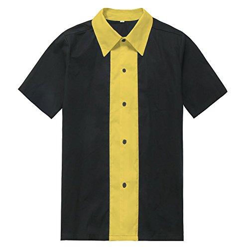 Candow Look Herren Big Size Freizeithemd Two Tone Work Black Yellow -