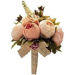 Ramo Novia Artificial - imitación flores reales - tonos rosados