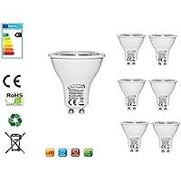 Tech Traders® confezione da 6GU106W lampadine LED [non dimmerabile, equivalenti a lampadine alogene da 60W, 480LM, luce bianca calda (K), giorno bianco (4000K), luce bianca fredda (K) AC 220–240V, angolo di diffusione: 36°] (2anni di garanzia) [classe energetica A + +], plastica, Day White 4000K, GU10, 6.00 wattsW 220.00 voltsV