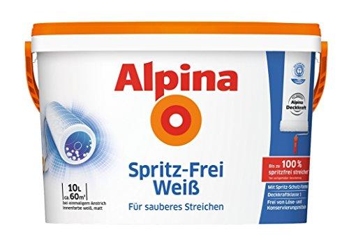 Alpina Spritz-Frei Weiss 10 Liter Wandfarbe Weiss, ohne Spritzen und Tropfen, Beste Deckkraft (Alpine Decke)