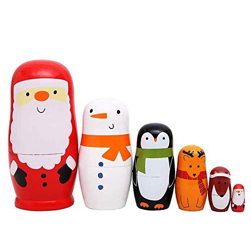 e Verschachtelungs-Puppen Matryoshka Schöne Handgemachte Hölzerne Stapelnde Puppe, Weihnachtsmann-Muster-Kinderspielzeug-Geburtstags-Weihnachtsausgangsdekoration ()