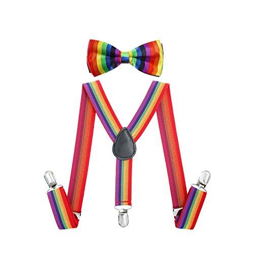 (AWAYTR Kinder Hosenträger Jungen Mädchen 25mm mit 3 Clips Y-Form Krawatte Set (Regenbogen Streifen))