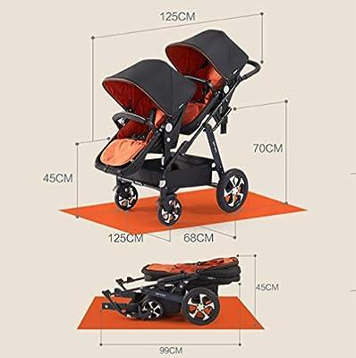 Cochecito de bebé Gemelo, Cochecito Plegable Modular de Alto Paisaje cinturón de Seguridad de Cinco Puntos Ajustable en Tres velocidades para bebés de 0 a 3 años de Edad 55 Libras
