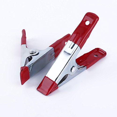8 x Clip pour Bâche pince pour fixation toile métal argenté peinture rouge 10 x 6,5 x 2 cm