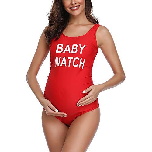Suer Mae Costume da Bagno Intero Un Pezzo Premaman maternità Gravidanza Taglie Forti Rosso XL