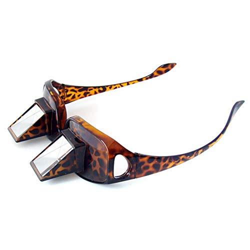 QZY Modernes Funwill Glas Prisma Bett Specs, Die Für Das Lesen und Fernsehen Im Bett Beim Lügen Flachen Periscope Brillen Schauspiels Legen,Brown