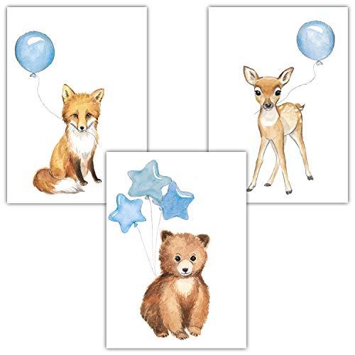 Frechdax® 3er Set Kinderzimmer Poster Baby Bilder DIN A4 | Waldtiere Safari Afrika Tiere Tierposter Luftballon Ballon Farbwahl (3er Set Blau, Bär, Fuchs, REH)