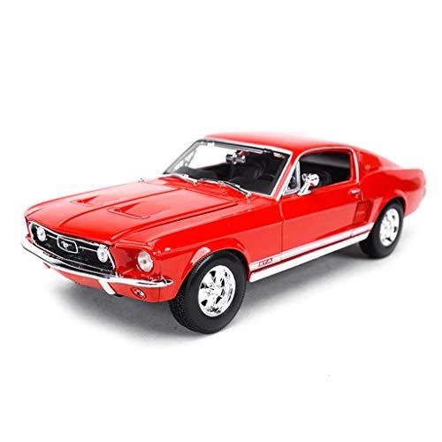 JIANPING Auto Modello di Auto 1:18 Ford Mustang 1967 Lega di Simulazione Die-Casting Giocattolo Gioielli Auto Sportiva Collezione di Gioielli 26x3x10x7.4CM Modello di Auto (Colore : Rosso)