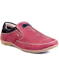 Levanse New Red Synthetic Leather Moccasin Slip On Shoes For Men / Boys .