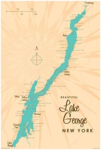 Northwest Art Mall Lake George New York Map Vintage Art Kunstdruck lakebound ({outputsize. shortdimensions}). 24x36 inch