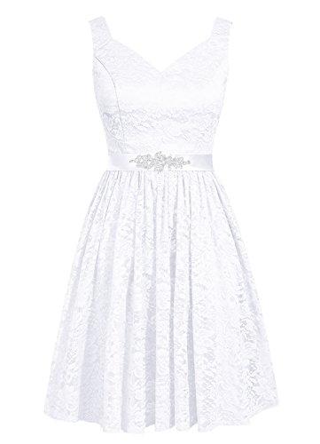 Dresstells, robe courte de demoiselle d'honneur en dentelle col en V Blanc
