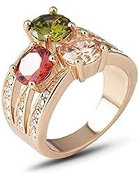 Eg /_ Damen Luxuriös Eingelegt Mondstein Finger Ring Party Schmuck Geschenk