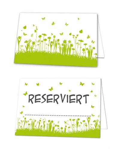 100 Stück Reserviert-Schilder hell-grüne weiße Blümchen Tischkarten Aufsteller Klappkarten zum Hinstellen Tisch-Reservierung Restaurant Hotel für Gäste Hochzeit Kommunion Taufe Geburtstag