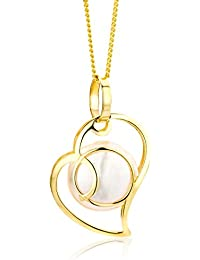 Miore Necklace - Pendant Women Freshwater Pearl Chain   Yellow Gold 9 Kt / 375  Heart Chain 45 cm