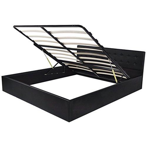 vidaXL Kunstleder Ehebett Doppelbett Polsterbett Gasdruckfeder Bettrahmen 160×200 cm